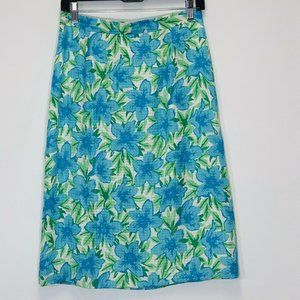 Talbots pencil Skirt Silk Floral blue green lined